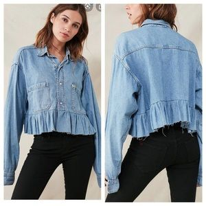 Urban Outfitters Chambray Peplum Top